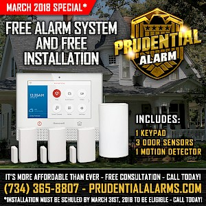March 2018 Special - Free Alarm System and Free Installation - Includes 1 Keypad, 3 Door Sensors, 1 Motion Detector