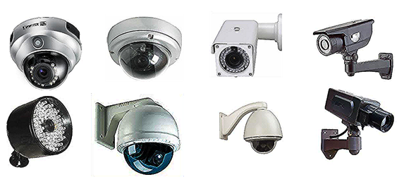 Photo of an assortment of security surveillance cameras